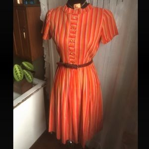Vintage Orange Soda Stripe Dress